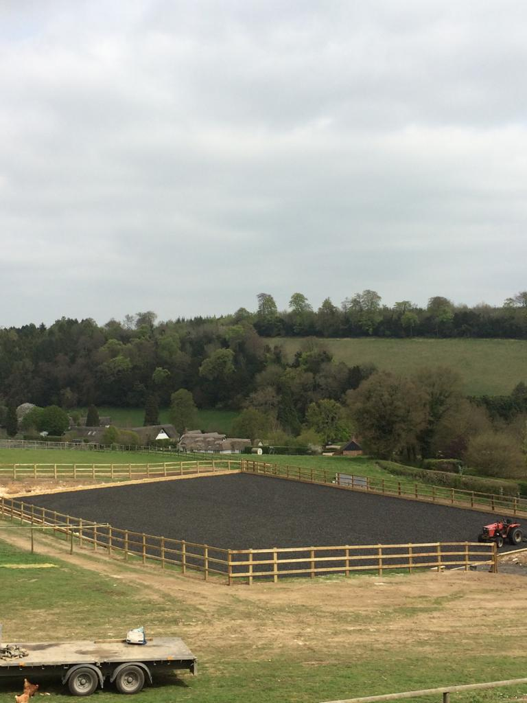 equestrian arena with tarmac surface